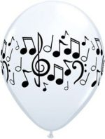 Single Source Party Supplies – 11″ Music Notes White Latex Balloons Bag of 10