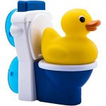 Potty Duck Potty Training Toy – Squirting Rubber Duck With Flushing Toy Toilet and Potty Training Tips (Compare to Potty Dolls)