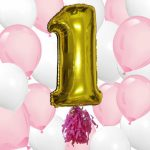 1st Girls Birthday Party Big First Birthday Ballon Bouquet Kit 40″ Gold Mylar Number 1 with 10 Pink & 10 White Helium Latex Balloons by Washunga Fun!