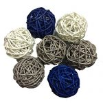 15PCS Mixed Navy Blue Gray White Decorative Wicker Rattan Ball Nautical Themed Party Wedding Birthday Baby Shower Decoration