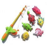 Axiba Baby Girl Boy Kids Magnetic Rod and Reel Fishing Bath Toy Playset with 6 Fishes and 1 Pole
