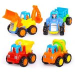 Geefia Set of 4 Cartoon Engineering Vehicles Friction Powered Push and Go Vehicle for Toddlers (Bulldozer, Dumper, Tractor, Cement Mixer)