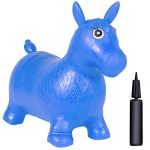 Best Choice Products Kids Blue Horse Hopper Bouncy Pump Inflatable Jumping Horse Ride On, Blue