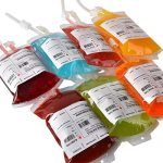 """Live """"Blood"""" of Theme Parties – Amazlab Blood Bag Drink Container Set of 5 IV Bags 11.5 Fl Oz, Halloween Party Cups"""