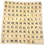 Toy,OUBAO 100 Wooden Scrabble Tiles Black Letters Numbers For Crafts Wood Alphabets