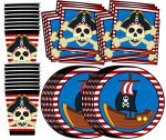 Pirate Ship Birthday Party Supplies Set Plates Napkins Cups Tableware Kit for 16