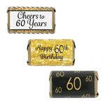 60th Birthday Party Decorations – Gold & Black – Stickers for Hershey's Miniature Bars (Set of 54)