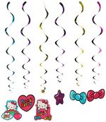 Hello Kitty Rainbow Value Pack Foil Swirl Birthday Party Decoration (12 Pack), Multi Color, 10″ x 9.6″.