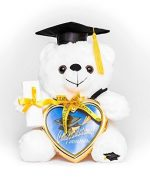 8″ Graduation Plush Teddy Bear with Cap and Diploma in Hand! Comes with a Heart Shaped Picture Frame! Made From High Quality Materials It Is the Perfect Commencement Gift!