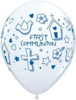 Single Source Party Supplies – 11″ First Communion Boy Latex Balloons Bag of 10